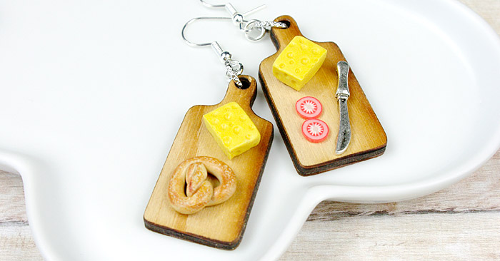 kolczyki żółty ser