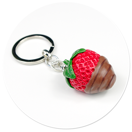 keyring strawberry with chocolate