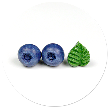 kolczyki wtykane jagody i liść