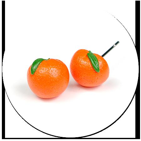 plug-in earrings oranges