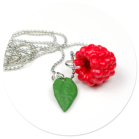 necklace with raspberry