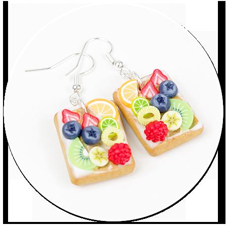 kolczyki gofry z polewą i owocami nr 2
