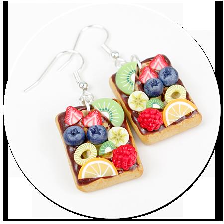 kolczyki gofry z polewą i owocami nr 7