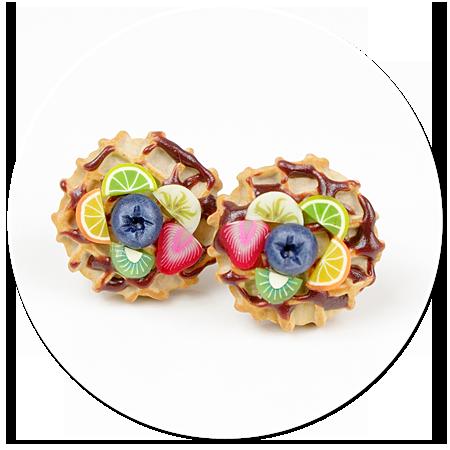 kolczyki wtykane gofry z owocami nr 4