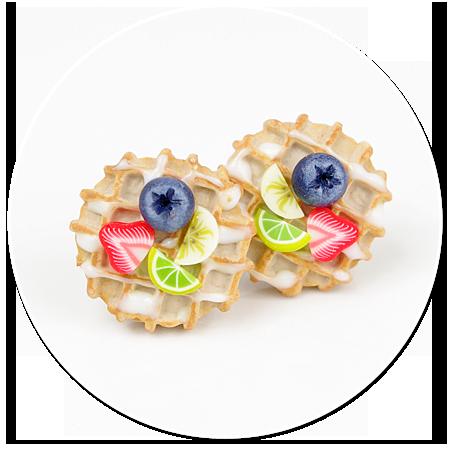 kolczyki wtykane gofry z owocami nr 2