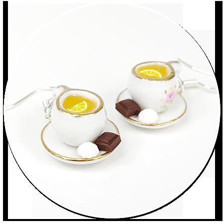 kolczyki białe filiżanki z herbatą i smakołykami nr 2