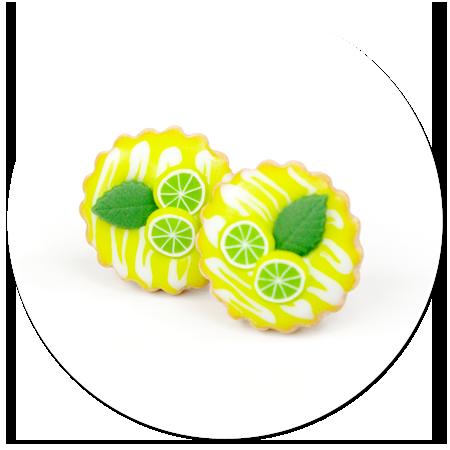 kolczyki wtykane tarty z owocami