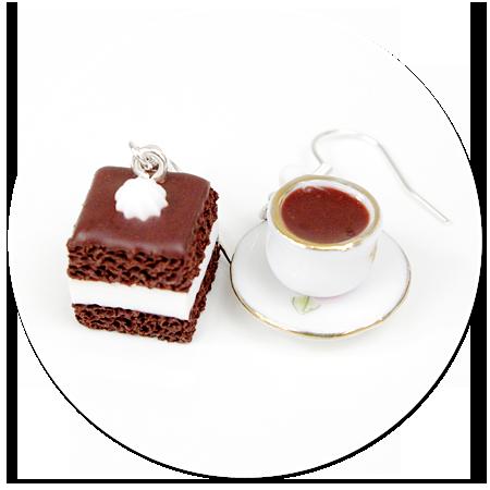kolczyki wiszące kawa i wuzetka