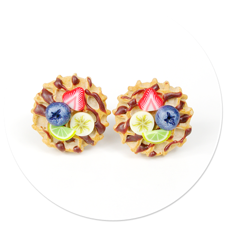 plug-in earrings waffles with friuts no. 3