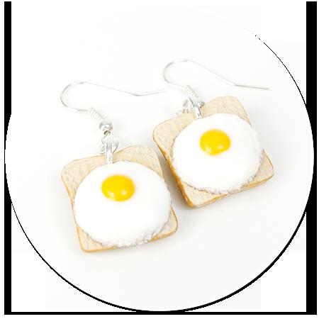 kolczyki wiszące tosty z jajkiem