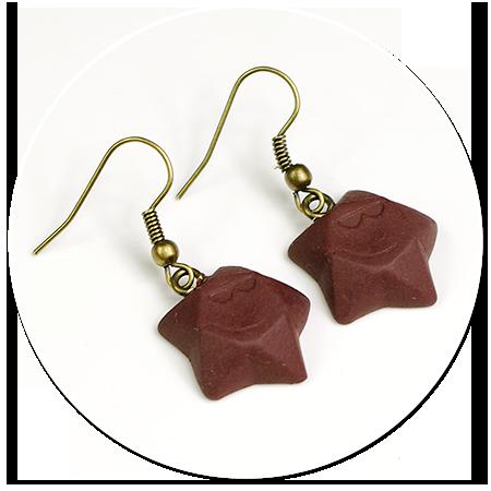 kolczyki czekoladowe gwiazdki