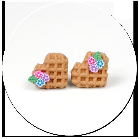 earrings mini waffles with flowers