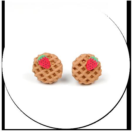 kolczyki okrągłe gofry z truskawką