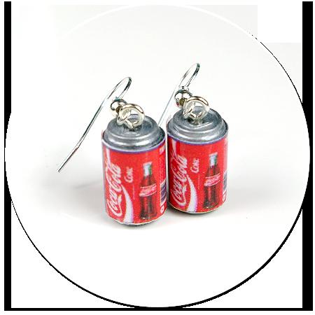 kolczyki wiszące puszki Coca Cola