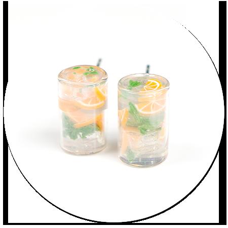 kolczyki wtykane woda z pomarańczą i miętą