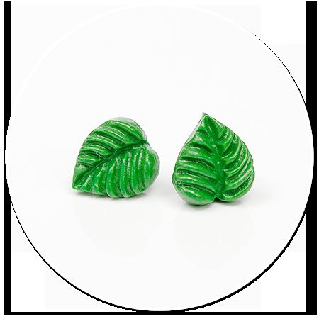 kolczyki wtykane zielone liście
