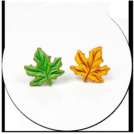 kolczyki wtykane liście