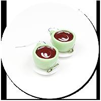 kolczyki kolorowe filiżanki z kawą nr 3