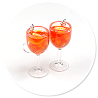 earrings glass with aperol spritz