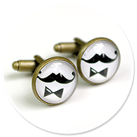 colorful cufflinks moustache no. 2