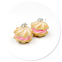 earrings cream puffs with cream