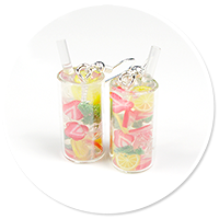earrings water with lemon and strawberries