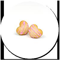 kolczyki wtykane ciasteczka serduszka