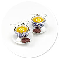 earrings cups with tea no. 2