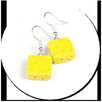 kolczyki wiszące żółty ser