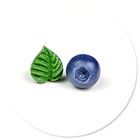 plug-in earrings blueberry and leaf