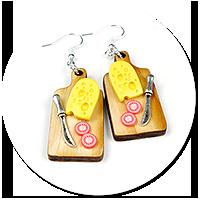 kolczyki deska z żółtym serem nr 3