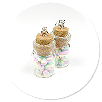 earrings jar with marshmallows