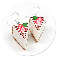 earrings cheese cake (strawberry)