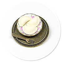 brooch with dumplings