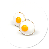 earrings fried eggs (plug-in)