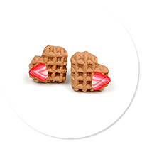earrings mini waffles with strawberry