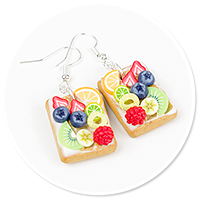 earrings waffles with fruits no. 2