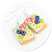 kolczyki gofry z polewą i owocami