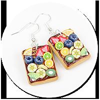 kolczyki gofry z polewą i owocami nr 3