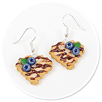 earrings waffles with blueberries no. 2