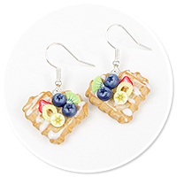 earrings waffles with blueberries no. 4