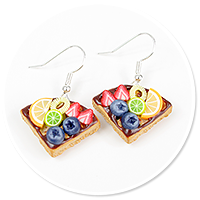 earrings waffles with fruits no. 6