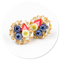 plug-in earrings waffles with friuts no. 5