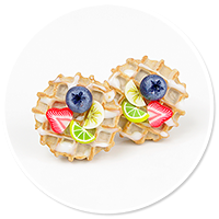 plug-in earrings waffles with friuts no. 2