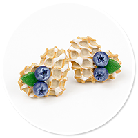 plug-in earrings waffles with friuts no. 10