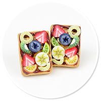 plug-in earrings waffles with friuts no. 8