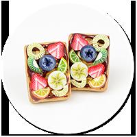 kolczyki wtykane gofry z owocami nr 8