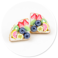 plug-in earrings waffles with fruits no. 2