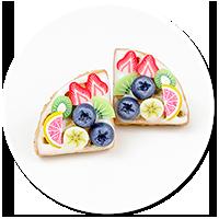 kolczyki wtykane gofry z polewą i owocami nr 2