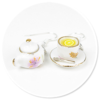 earrings cups and sugar bowl
